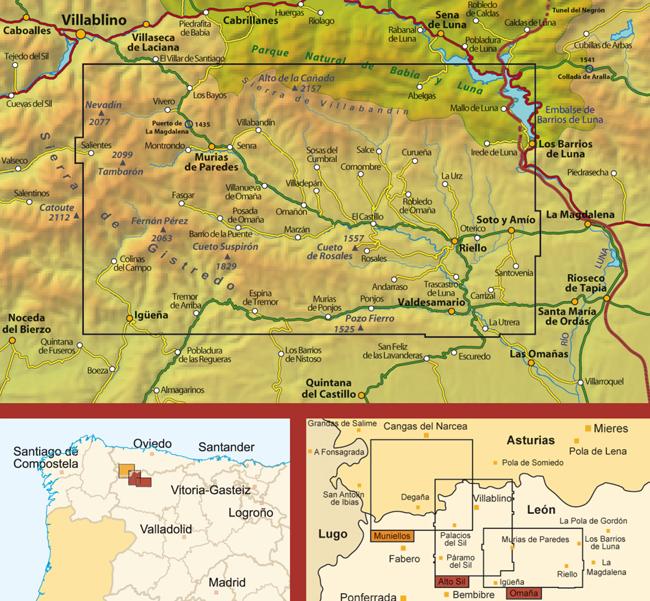 ef5b41e98 En este mapa de situación puedes ver el territorio que abarca el mapa de  Omaña y su emplazamiento junto a los mapas contiguos de Alto Sil y ...